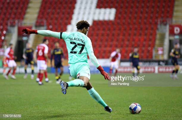 Jamal Blackman of Rotherham United takes a free-kick during the Sky Bet Championship match between Rotherham United and Stoke City at AESSEAL New...