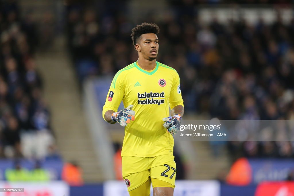 Jamal Blackman of Sheffield United during the Emirates FA Cup Fifth Round match between Leicester City and Sheffield United at The King Power Stadium on February 16, 2018 in Leicester, England.