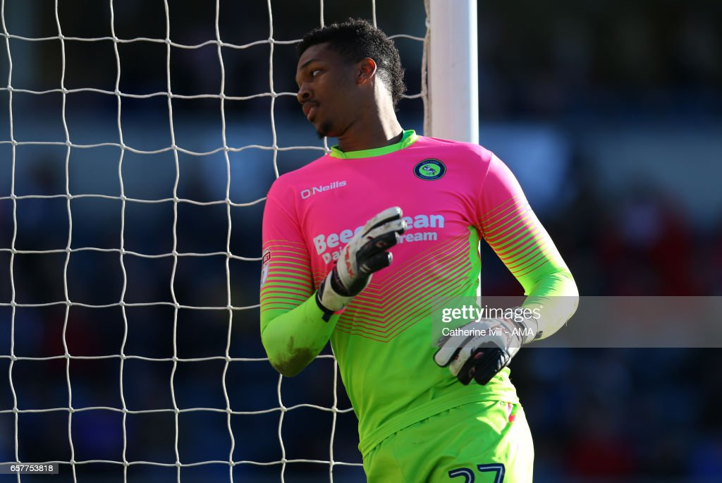 Jamal Blackman of Wycombe Wanderers during the Sky Bet League Two match between Wycombe Wanderers and Notts County at Adams Park on March 25, 2017 in High Wycombe, England.