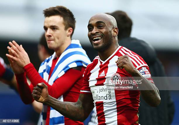 Jamal CampbellRyce of Sheffield United celebrates victory after the FA Cup Third Round match between Queens Park Rangers and Sheffield United at...