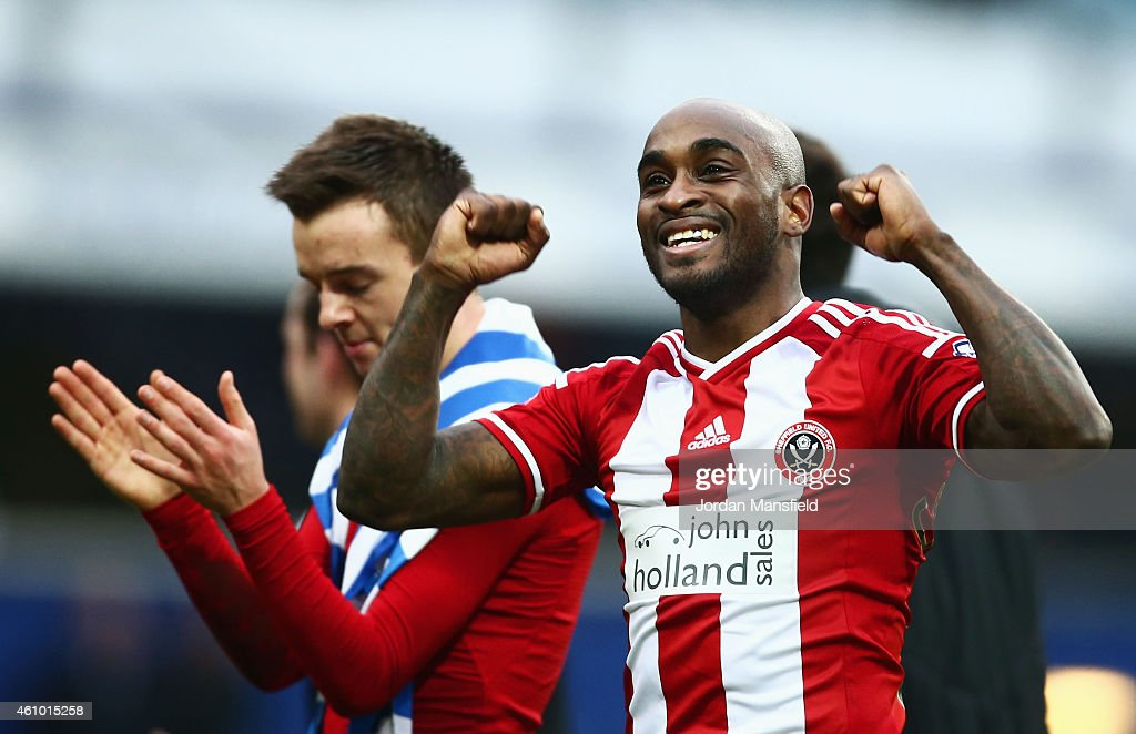 Jamal Campbell-Ryce of Sheffield United celebrates victory after the FA Cup Third Round match between Queens Park Rangers and Sheffield United at Loftus Road on January 4, 2015 in London, England.