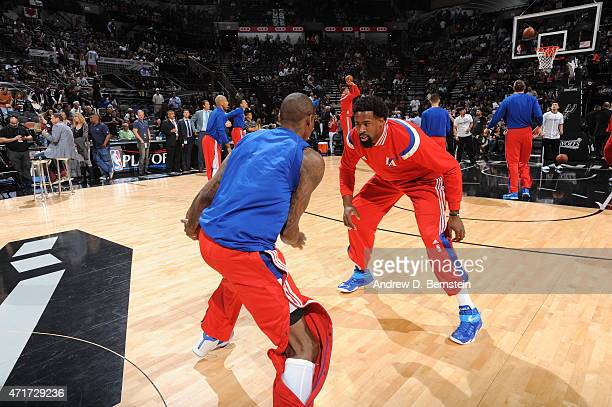 Jamal Crawford and DeAndre Jordan of the Los Angeles Clippers warm up before the game against the Los Angeles Clippers for Game Six of the Western...