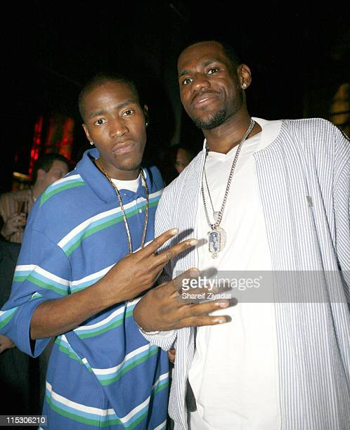 Jamal Crawford and Lebron James during JayZ Celebrates the 10th Anniversary of 'Reasonable Doubt' Inside at Rainbow Room in New York United States