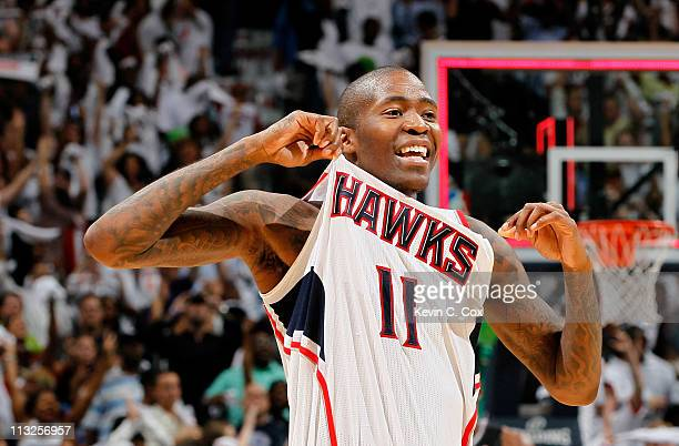 Jamal Crawford of the Atlanta Hawks reacts after their 8481 win over the Orlando Magic during Game Six of the Eastern Conference Quarterfinals in the...