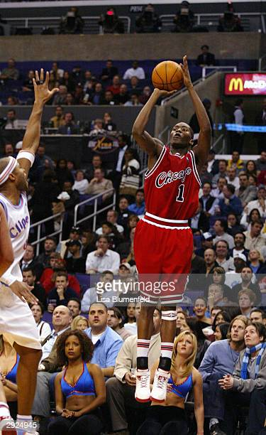Jamal Crawford of the Chicago Bulls shoots during the game against the Los Angeles Clippers at Staples Center on January 27 2004 in Los Angeles...