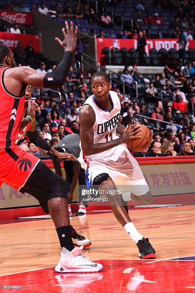 Jamal Crawford #11 of the Los Angeles Clippers drives to the basket against the Toronto Raptors on October 5, 2016 at STAPLES Center in Los Angeles, California.