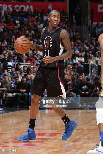 Jamal Crawford of the Los Angeles Clippers handles the ball against the Golden State Warriors on February 20 2016 at STAPLES Center in Los Angeles...