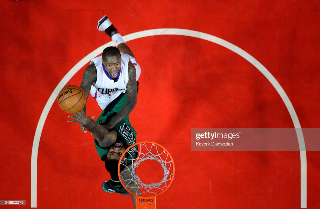 Jamal Crawford #11 of the Los Angeles Clippers scores a basket against Amir Johnson #90 of the Boston Celtics during the secone half of the basketball game at Staples Center March 6 2017, in Los Angeles, California.