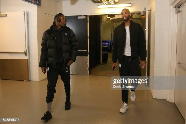 Jamal Crawford of the Minnesota Timberwolves and Taj Gibson of the Minnesota Timberwolves arrive at the stadium before the game against the...