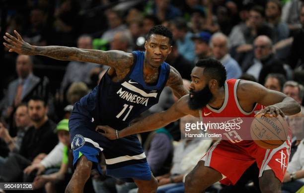 Jamal Crawford of the Minnesota Timberwolves defends against James Harden of the Houston Rockets during the fourth quarter in Game Four of Round One...