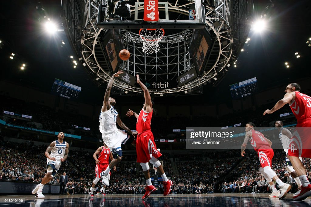 Jamal Crawford #11 of the Minnesota Timberwolves goes to the basket against the Houston Rockets on February 13, 2018 at Target Center in Minneapolis, Minnesota.