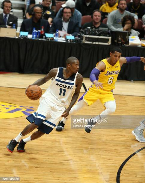 Jamal Crawford of the Minnesota Timberwolves handles the ball against Jordan Clarkson of the Los Angeles Lakers during a preseason game on September...