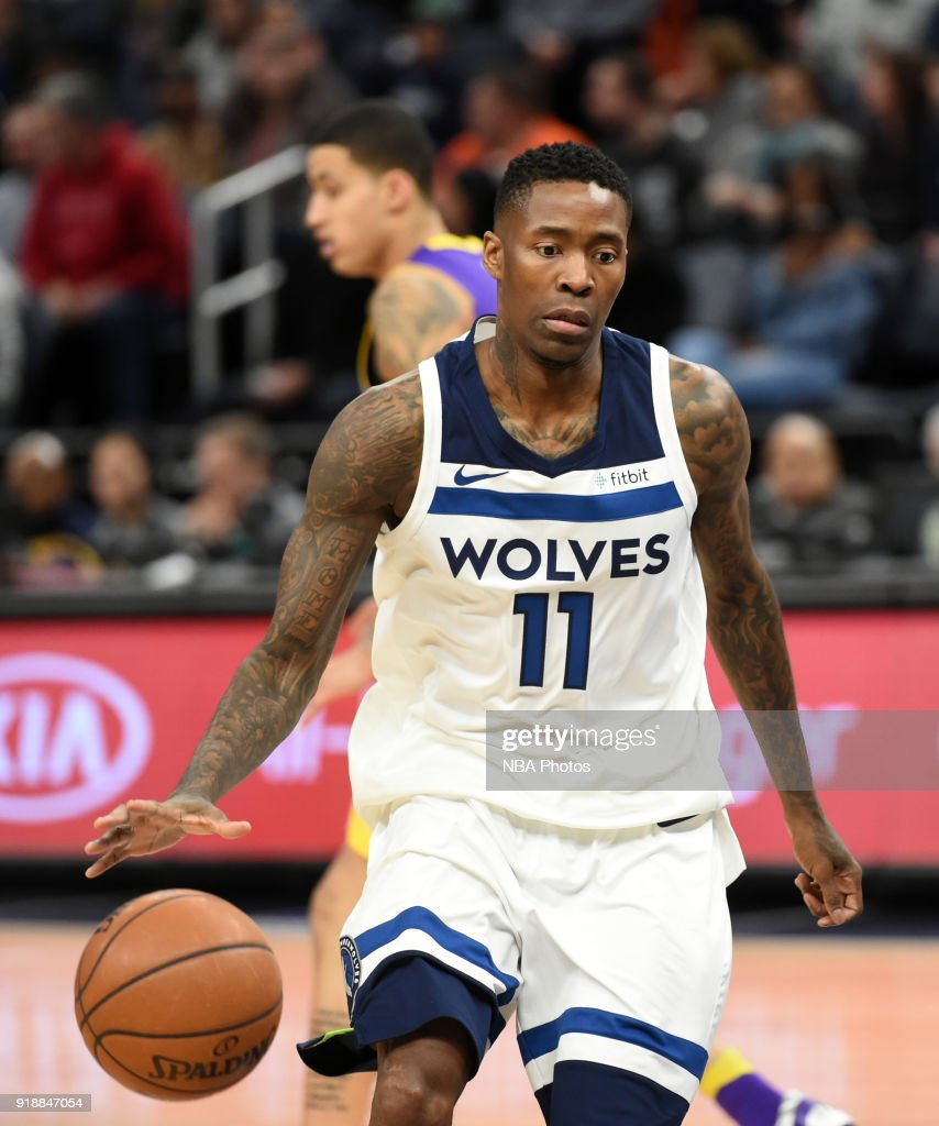 Jamal Crawford #11 of the Minnesota Timberwolves handles the ball against the Los Angeles Lakers on February 15, 2018 at Target Center in Minneapolis, Minnesota.