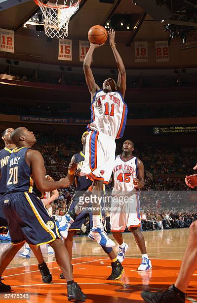 Jamal Crawford of the New York Knicks goes to the basket against Fred Jones of the Indiana Pacers during the game at the Madison Square Garden on...