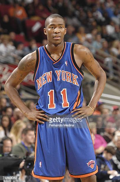 Jamal Crawford of the New York Knicks rests on the court against the Orlando Magic during the game at Amway Arena on February 3 2007 in Orlando...