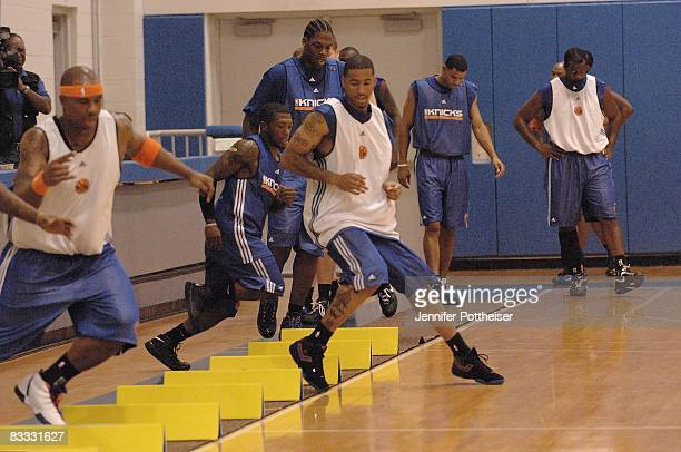 Jamal Crawford of the New York Knicks runs alongside his teammates during practice at the teams facility on October 6 2008 in Tarrytown New York NOTE...