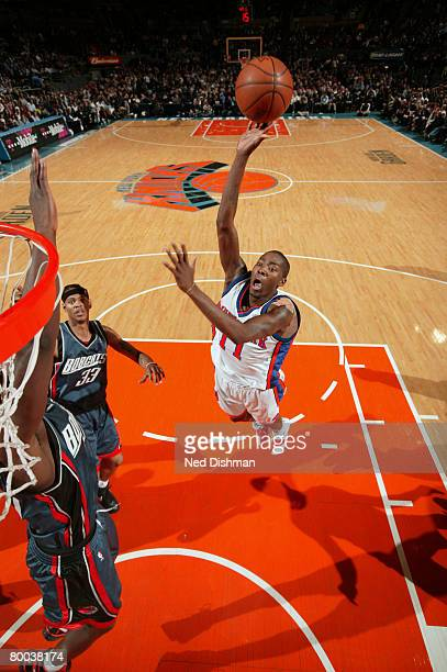 Jamal Crawford of the New York Knicks shoots against the Charlotte Bobcats on February 27 2008 at Madison Square Garden in New York City NOTE TO USER...