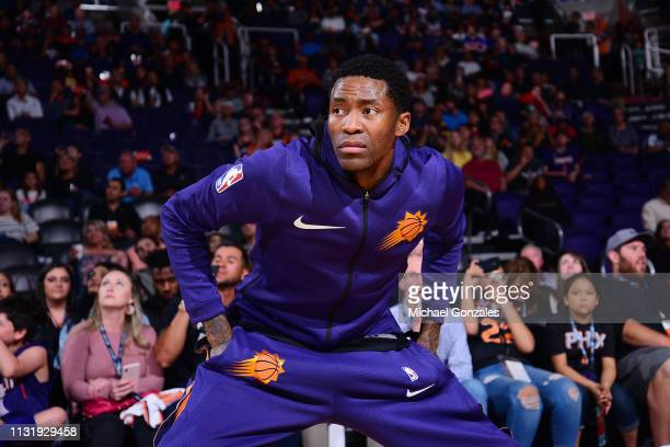 Jamal Crawford of the Phoenix Suns makes his entrance before the game against the Detroit Pistons on March 21 2019 at Talking Stick Resort Arena in...