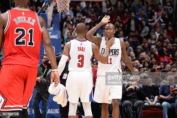 Jamal Crawford shakes hands with Chris Paul of the Los Angeles Clippers during the game against the Chicago Bulls on January 31 2016 at STAPLES...