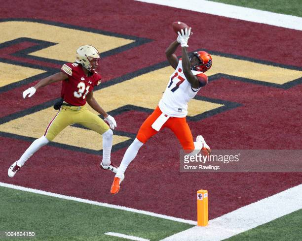 Jamal Custis of the Syracuse Orange makes a touchdown catch during the third quarter of the game against the Boston College Eagles at Alumni Stadium...