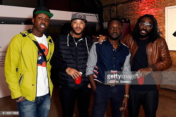 Jamal Edwards, guest, Arnold Oceng and Charley Van Purpz attend the Agi & Sam x Lacoste L!ve Collection Launch on October 11, 2016 in London, United...