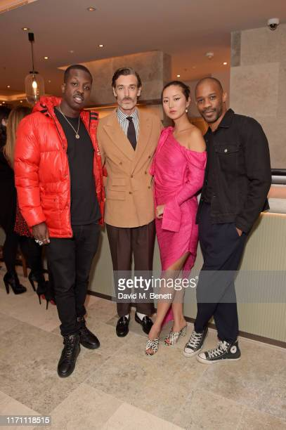 Jamal Edwards Richard Biedul Betty Bachz and guest attend the launch of Allegra at The Stratford with Perrier Jouet Champagne on September 25 2019 in...