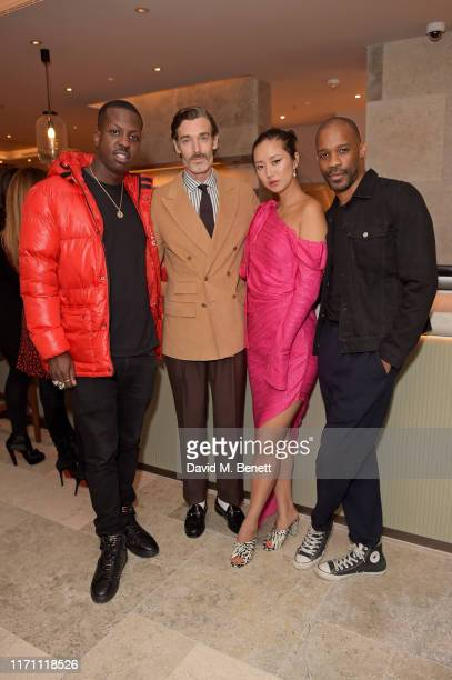 Jamal Edwards, Richard Biedul, Betty Bachz and guest attend the launch of Allegra at The Stratford with Perrier Jouet Champagne on September 25, 2019...