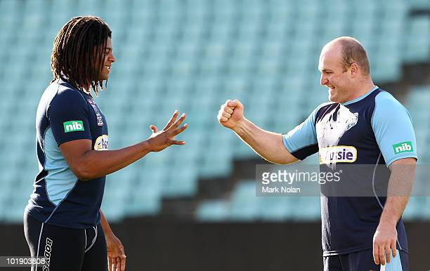 Jamal Idris and Michael Weyman of the Blues play paperscissorsrock during a New South Wales Blues Origin training session at Parramatta Stadium on...
