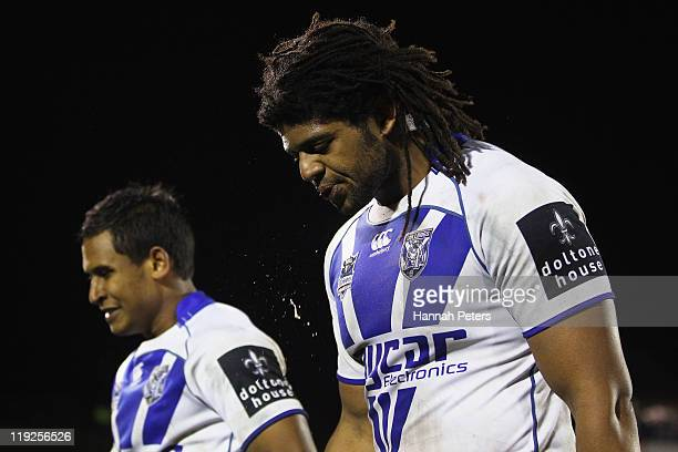 Jamal Idris of the Bulldogs walks off after losing the round 19 NRL match between the Warriors and the Canterbury Bulldogs at Mt Smart Stadium on...