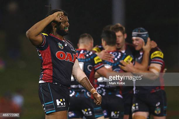 Jamal Idris of the Panthers celebrates the Panthers 2322 victory during the round 23 NRL match between the Penrith Panthers and the North Queensland...