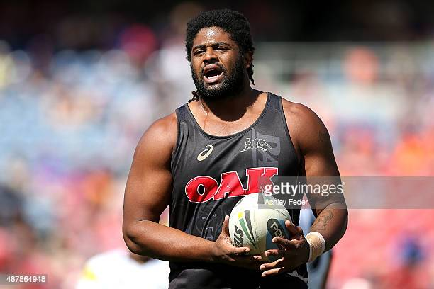 Jamal Idris of the Panthers during the warm up during the round four NRL match between the Newcastle Knights and the Penrith Panthers at Hunter...