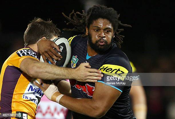 Jamal Idris of the Panthers in action during the round 18 NRL match between the Penrith Panthers and the Brisbane Broncos at Sportingbet Stadium on...