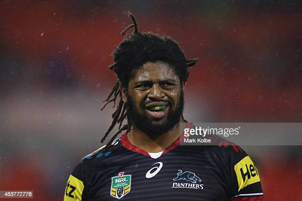 Jamal Idris of the Panthers looks on during the round 23 NRL match between the Penrith Panthers and the North Queensland Cowboys at Sportingbet...