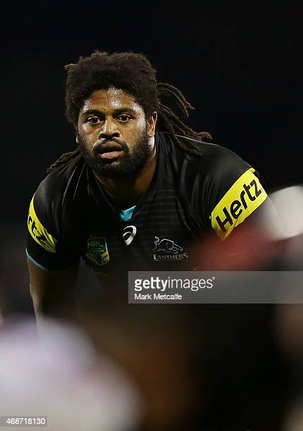 Jamal Idris of the Panthers looks on during the round five NRL match between the Penrith Panthers and the North Queensland Cowboys at Pepper Stadium...