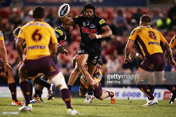 Jamal Idris of the Panthers takes on the defence during the round 18 NRL match between the Penrith Panthers and the Brisbane Broncos at Sportingbet...