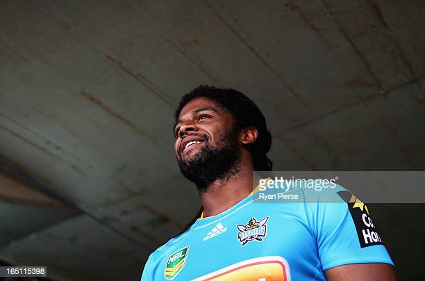 Jamal Idris of the Titans walks out onto the ground during the round four NRL match between the Penrith Panthers and the Gold Coast Titans at...