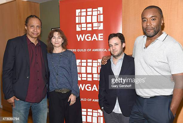 Jamal Joseph Ilene Chaiken Danny Strong and Lee Daniels attend Writers Guild of America East In Conversation With Empire at The New School on May 12...