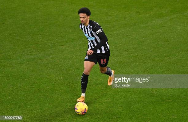 Jamal Lewis of Newcastle in action during the Premier League match between Newcastle United and Crystal Palace at St. James Park on February 02, 2021...