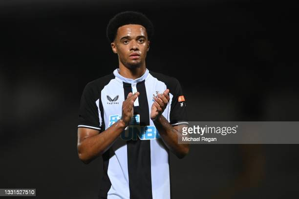 Jamal Lewis of Newcastle looks on during the pre-season friendly between Burton Albion and Newcastle United at the Pirelli Stadium on July 30, 2021...