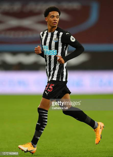 Jamal Lewis of Newcastle United during the Premier League match between West Ham United and Newcastle United at London Stadium on September 12, 2020...
