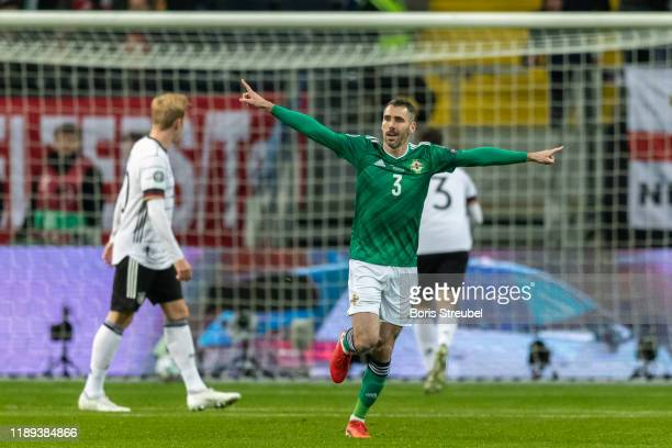 Jamal Lewis of Northern Ireland celebrates after scoring his team's first goal during the UEFA Euro 2020 Qualifier between Germany and Northern...