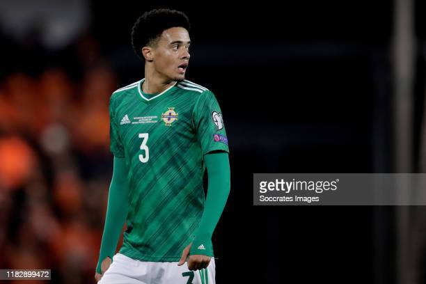 Jamal Lewis of Northern Ireland during the EURO Qualifier match between Northern Ireland v Holland at the Windsor Park on November 16, 2019 in...