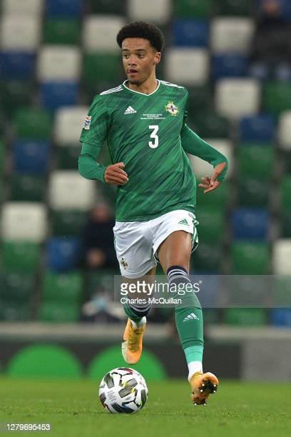 Jamal Lewis of Northern Ireland in action during the UEFA Nations League group stage match between Northern Ireland and Austria at Windsor Park on...
