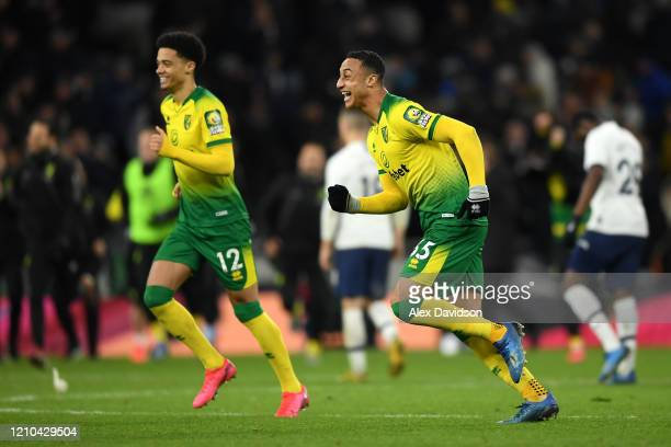 Jamal Lewis of Norwich City and Adam Idah of Norwich City celebrate following their sides victory in the FA Cup Fifth Round match between Tottenham...