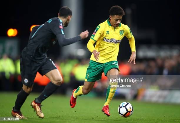 Jamal Lewis of Norwich City and Davide Zappacosta of Chelsea in action during the The Emirates FA Cup Third Round match between Norwich City and...