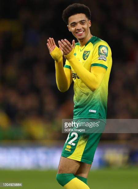 Jamal Lewis of Norwich City applauds during the Premier League match between Norwich City and Leicester City at Carrow Road Final Score Norwich City...