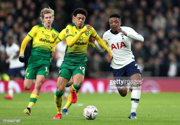 Jamal Lewis of Norwich City battles for possession with Steven Bergwijn of Tottenham Hotspur during the FA Cup Fifth Round match between Tottenham...