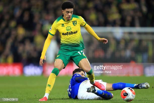 Jamal Lewis of Norwich City celebrates during the Premier League match between Norwich City and Leicester City at Carrow Road on February 28, 2020 in...