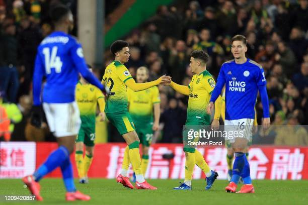 Jamal Lewis of Norwich City celebrates his goal during the Premier League match between Norwich City and Leicester City at Carrow Road on February 28...