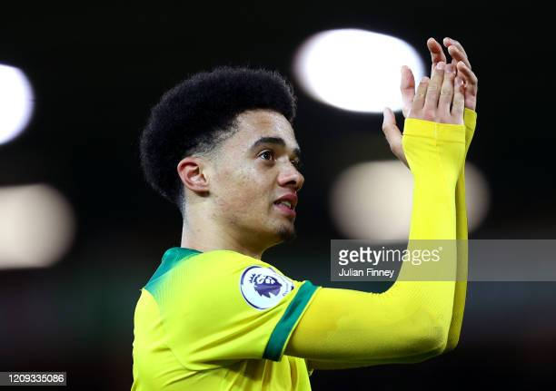 Jamal Lewis of Norwich City celebrates victory during the Premier League match between Norwich City and Leicester City at Carrow Road on February 28...